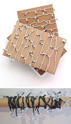 In order to say ta-ta to tangled light strands once and for all, simply wrap the lights around old paper towel rolls, wrapping paper rolls, hangers, or sturdy pieces of cardboard.