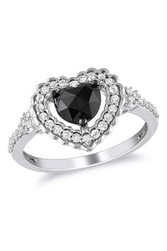 1Ct Black And White Heart Ring In 10k White Gold