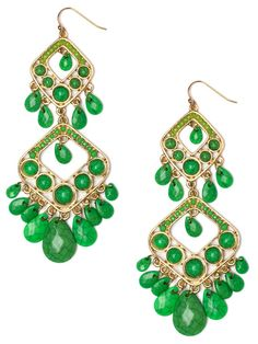 $24 Double the pleasure with these bold boho-style earrings. They feature duplicate drops, each lavishly dripping with gorgeously green gemstones.