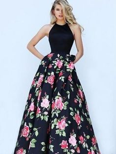 73da28bce68 High Quality Halter Ball Gown Floral Backless Black Long Prom Dress ...