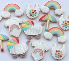 Rainbow themed baby shower cookies