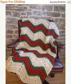 FALL SALE Green Red Tan BlanketCrochet by CabinByThePines on Etsy