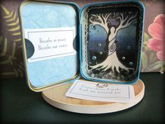 Affirmation Mini Shrine - this version has a set of affirmations you can clip into the lid.  Interior art is original.(sold)