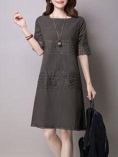 Gray A-line Short Sleeve Pierced Crew Neck Casual Dress