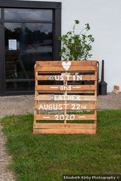Wooden wedding sign with white painted lettering Wedding In The Woods, Farm Wedding, Summer Wedding, Wedding Events, Rustic Wedding, Wooden Wedding Signs, Wedding Signage, Spencer Iowa, Painted Letters