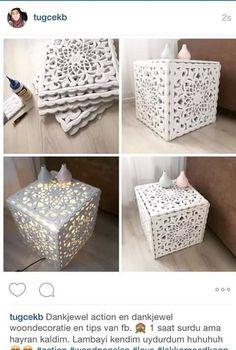 bijzet tafeltje of vloerlamp gemaakt van sier-panelen van de action