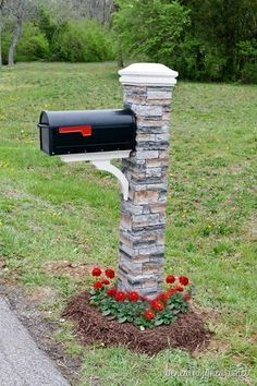 diy mailbox makeover with stone brick pillar and flowers, Beneath My Heart