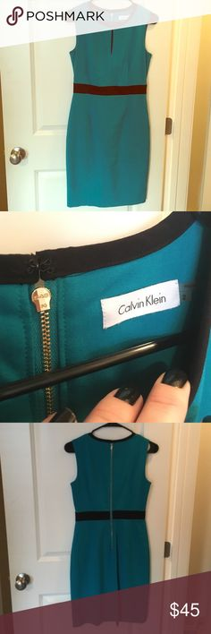 Classy Calvin Klein Teal Dress I loved this dress so much! Unfortunately, I no longer wear a size 2 and it does not fit. Dress is in excellent condition, always dry cleaned. Beautiful gold detail on zipper, looks great with a gold watch or MK bag. Teal color (looks darker in the photo, but it's quite vibrant in real life) with black empire waist and trim. Professional length. Fits so nicely! My waist was a 26 and bra size 34 A/B. ❤️ Calvin Klein Dresses Wedding