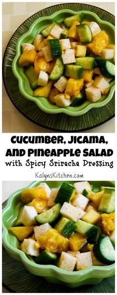 Here's an easy late-summer salad that's a new way to use cucumber. I love the spicy Sriracha dressing on this salad! [from KalynsKitchen.com] #Vegan