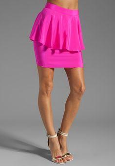 AMANDA UPRICHARD Silk Peplum Skirt in Hot Pink