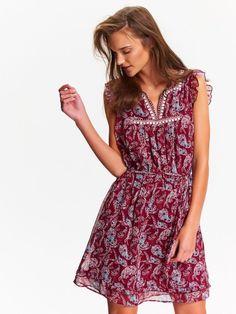 sukienka damska kolorowa, w kwiaty, z haftem bordowa - SSU1968 TOP SECRET