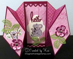 Double Diamond Hello - open by KristineB - Cards and Paper Crafts at Splitcoaststampers