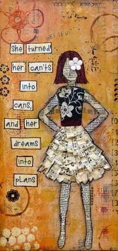 No face girl. Pattern paper dress. Outlined word cutouts.
