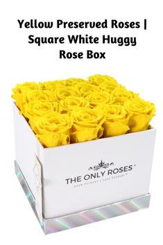 Yellow Preserved Roses | Square White Huggy Rose Box #roses #flowers #flower #love #rose #beautiful #garden #theonlyroses #roses #flowers #flower #love #rose #beautiful #flowergarden   #eternityeoses #boxedflowers #boxedroses #proposal #engaged #boxofroses #rosesinabox #flowersinabox #weddinggift #housewarminggift  #weddingfavors #preservedroses #giftideas