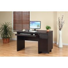 Benson Basic Office Desk with Drawer | Features 1-large right hand cabinet for books or CPU storage; Slide-out keyboard tray and a roomy handle-less right hand drawer for writing utensils; Office desk is fully furnished on all sides with a great clearance on back panel for extra leg room