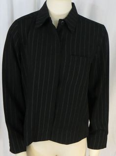 """NORTON McNAUGHTON"" BLACK PINSTRIPE BLAZER BLOUSE - PLEASE SEE ALL PICTURES #NORTONMcNAUGHTON #Blazer"
