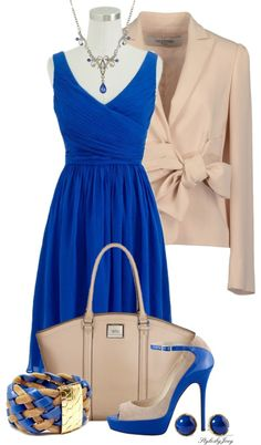 """Bold in Blue and Taupe"" by stylesbyjoey ❤ liked on Polyvore"