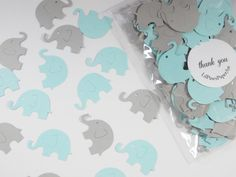 Elephant Baby Shower Confetti, Baby Blue & Gray Elephant Cutouts, Boy Birthday Party, Party Decoration, 200