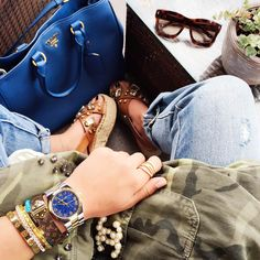 outfit: camouflage-military-parka+michaelkors watch+ prada-bag+wedges+jeans. Spring Outfit 2016