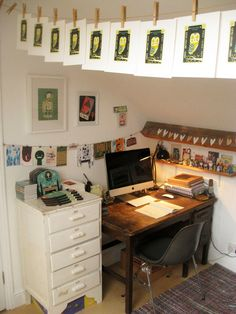 Tom Frost, work space, desk, home studio, corner, attic, room, interior, studio, print