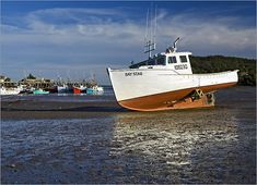 The Bay of Fundy at low tide in the village of Sandy Cove along Digby Neck, Nova Scotia. East Coast Canada, Beach Icon, Cool Boats, Lobsters, New Brunswick, Power Boats, Boat Building, Going Home, Nova Scotia