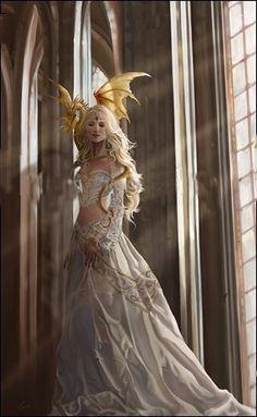 Nene Thomas Fairy Faery Open Edition Print 8x10 Asiria White Gold Baby Dragon