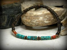 Bracelet for Men, Turquoise Bracelet, Mens Jewelry, Stretch Bracelet, Southwest Jewelry, Mens Bracelet, Stack Bracelet, Native American