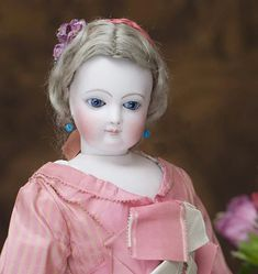 """17 1/2"""" (45 cm). Antique French Fashion Early Jumeau doll wood &leather body, very rare Paris store label, wonderful dress!"""