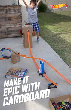 To make Hot Wheels races and stunts even more exhilarating, just add cardboard. A little DIY can help your kids experiment to make their Hot Wheels jump further, fly higher and speed faster. If you need extra track for the infinite combinations, find some here.