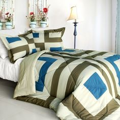 So Young Quilted Patchwork Down Alternative Comforter Set (Twin Size)