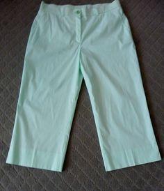Escada Vintage Pale Green Small Checked Crop Pants Size 8 38 Retail $575. #ESCADA #CaprisCropped