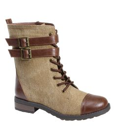 Right Now! Another great find on #zulily! Tan Double-Buckle Battle Combat Boot by Bamboo #zulilyfinds