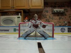 Five Hole goalies by SK Mini Rinks...Ontario table hockey google it...these goalies go down into butterfly and back to standing! Table hockey at its best Hockey Games, Ice Hockey, Worst Injuries, Standing Table, Pinball, Ontario, Penguins, Butterfly, Mini