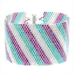 Pilna instrukcija video Diagonal Striped Peyote Bracelet (Prpl/Aq) - Exclusive Beadaholique Jewelry Kit