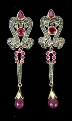 Estate Vintage 3.32c Rose Cut Diamond Ruby 925 Silver Exquisite Earrings Dangler #realbeautyofwoman