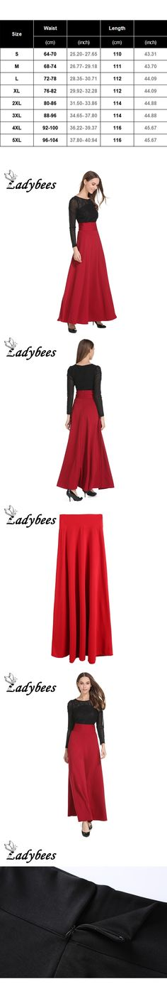 LADYBEES Long Skirts Plus size 5XL Women Solid Black Red Pleated High Waist Vintage Elegant Party Skirts 2017 Autumn OL Work