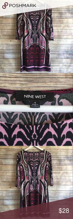 NINE WEST Patterned Sheath Dress Career NINE WEST Patterned Sheath Dress Career Small Pink and purple and burgundy colors mixed with black and white 3/4 sleeves Measurements laid flat are 17 inch bust 34 inch length 16 inch waist Fabric content is 96% polyester and 4% elastane  Thank you for looking and please check out the rest of my closet. Nine West Dresses Mini