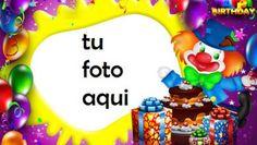 Payaso Con Pastel De Feliz Cumpleaños Marco Para Foto Birthday Card With Name, Happy Birthday Frame, Happy Birthday Photos, Birthday Frames, Happy Birthday Cakes, Birthday Cards, Artificial Orchids, Candle Jars, Gifts