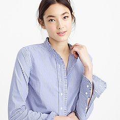 Ruffled button-down shirt in stripe