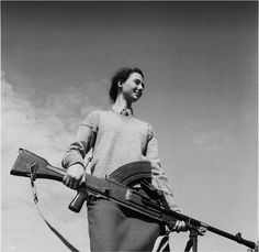 """""""A young woman fighter cheerfully prepares to defend Valencia. Many of her male comrades have joined in the march to the Ebro where fighting is expected to be heavy."""" (Words and image recreated for my """"Vintage"""" series"""")"""