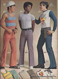 The trying-to-look-naturally-relaxed pose. Loving the safety helmet/sandals combination. And the Mighty Mouse top/casual sash belt ensemble. 1971 JCPenneys catalog.