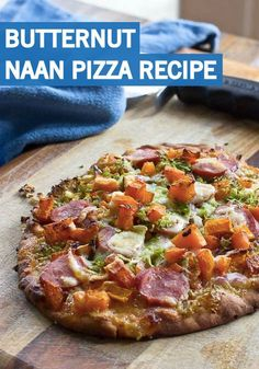This sweet and savory pizza recipe is loaded with the goodness of the fall season. Plus, Brussels sprouts and butternut squash make this naan pizza hearty, delicious, and perfect for dinnertime!