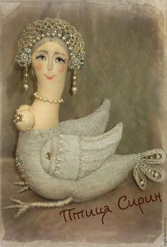 Купить Птица Сирин льняная - птица, Сирин, птица Сирин, кукла, кукла интерьерная, игрушка