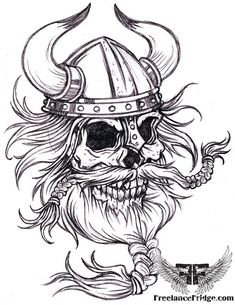 Black And White Viking Skull Tattoo Design: Real Photo Pictures ...