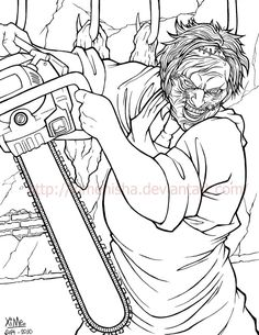 Leatherface by XimeniSHA on DeviantArt Scary Coloring Pages, Coloring Book Art, Colouring Pages, Adult Coloring Pages, Scary Drawings, Cool Pencil Drawings, Skull Sketch, Horror Artwork, Horror Movie Characters