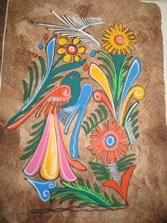MEXICAN FOLK ART BIRD PAINTINGS BARK PAPER | Tattoo inspiration