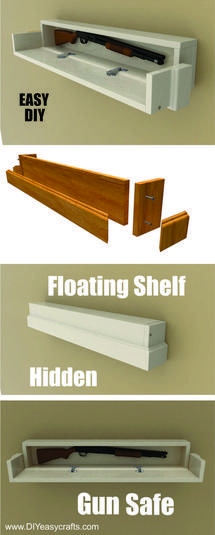 How to make a DIY Secret Compartment Floating Shelf Gun Safe. Free easy to follo… - wood workings plans Woodworking Furniture Plans, Easy Woodworking Projects, Diy Wood Projects, Home Projects, Diy Furniture, Woodworking Tools, Welding Projects, Youtube Woodworking, Woodworking Equipment