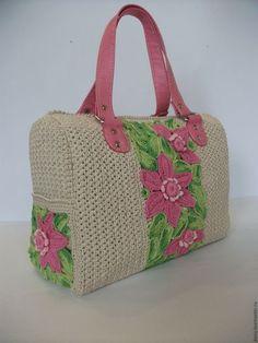 Женские сумки ручной работы. Ярмарка Мастеров - ручная работа. Купить вязаная сумка-саквояж с цветами. Handmade. Белый