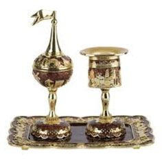 containers - Enameled and Jeweled Havdallah Spice Tower, Candle Holder, and Tray - Jerusalem (Night) | Judaica Web Store