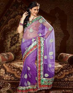 Purple Net Fabric Saree